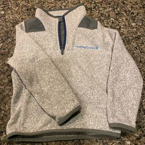 L NWT Vineyard Vines Heather Gray Cable Knit Suede 1//4  Zip Sweater Sz M